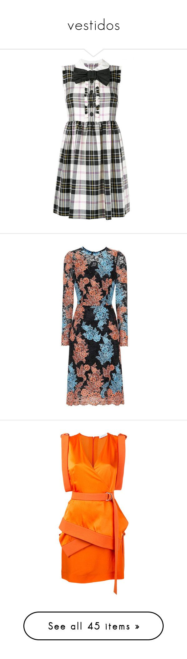 """vestidos"" by carlymailin ❤ liked on Polyvore featuring dresses, shirring dress, tartan dress, multi coloured dress, shirred dress, miu miu dress, multicoloured, multicolored dress, embroidered lace dress and dolce gabbana dress"