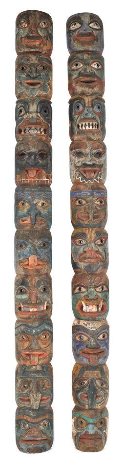 Pair of Northwest Coast Carved and Painted Tlingit Totem Poles