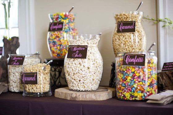 Popcorn bar. Love this idea!