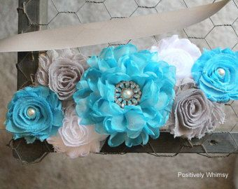 Turquoise and Aqua Maternity Sash Newborn by BridalBlingNBowtique