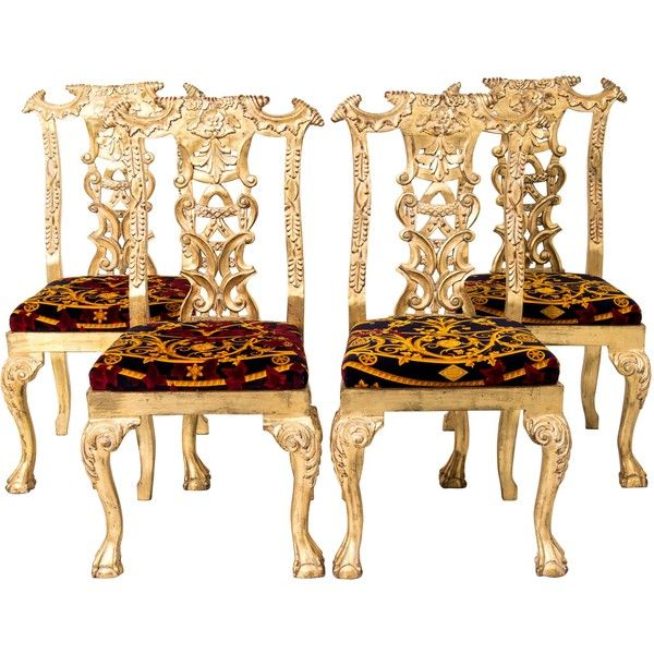 Pre-owned Versace Giltwood Dining Chairs ($12,800) ❤ liked on Polyvore featuring home, furniture, chairs, dining chairs, gold, gold chair, gold dining chairs, second hand chairs, oversized chair and second hand furniture