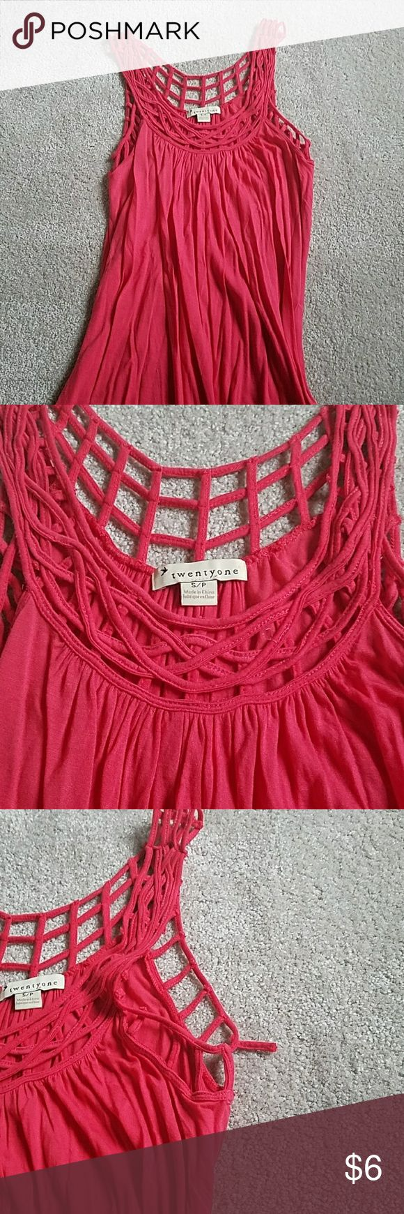 Long flowy tank Cute tank from Forever 21 ciral color nice soft material. One little strap in the detailing is detatched its under the armpit and cant notice when on. Forever 21 Tops Tank Tops