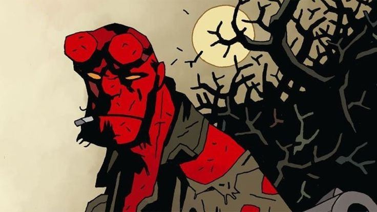 Mike Mignola Draws the Poster For the New 'Hellboy' Movie. Short lines create texture in Hellboy.