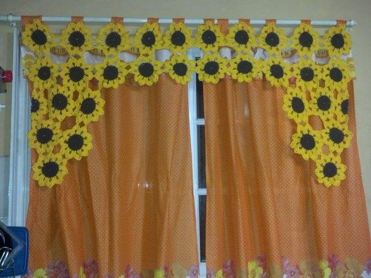 Cortinas De Baño Tejidas Al Crochet:cortina de girasoles