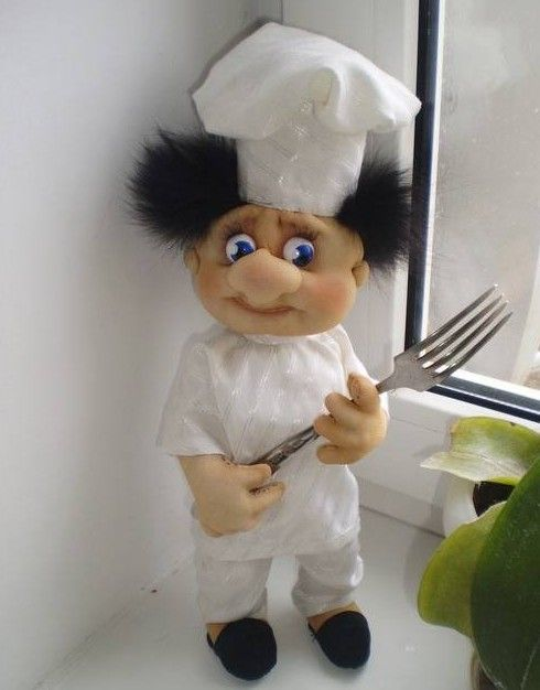 DIY Chef Doll. No the easiest instructions to follow but instructions none-the-less.  You could change the facial expression and hair to make different characters.