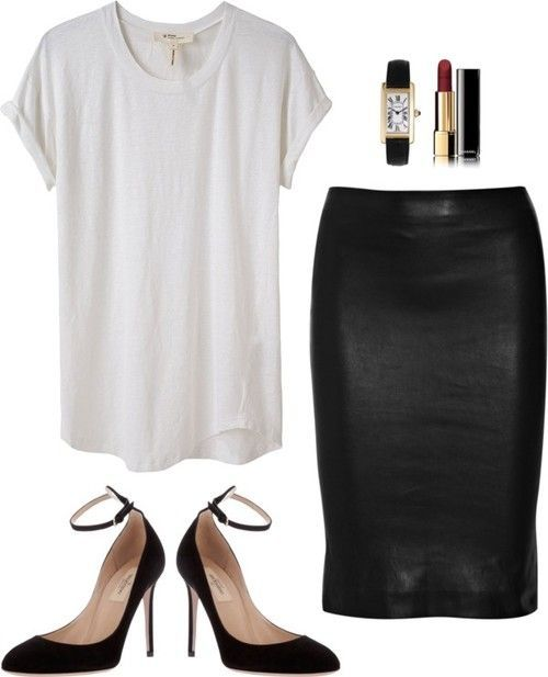 Black midi skirt, white t-shirt, black ankle-strap pumps, dark red lips, classic watch
