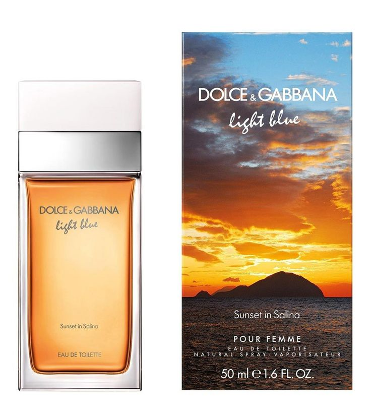 Dolce&Gabbana Light Blue Sunset in Salina  - Light Blue Sunset in Salina is described as a fresh floral scent; a glass of Malvasia wine to be sipped on the terrace covered with freesias while watching the sunset. It opens with fresh vine leaves and violet leaves. The heart includes yellow freesia, jasmine and orange blossom. The base notes are amber, cedar and white musk.