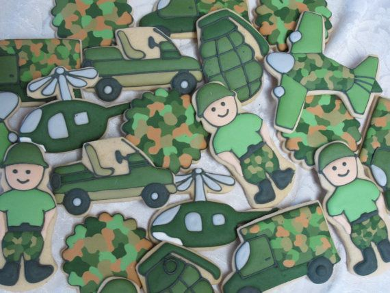 Military Decorated Sugar Cookies Collection - Soldiers, Helicopter, Grenade, Jet, Trucks, Birthday Party, Army, Marines, Party Favors