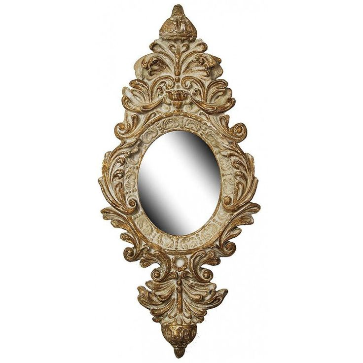 Ornate Gold and White Wall Mirror