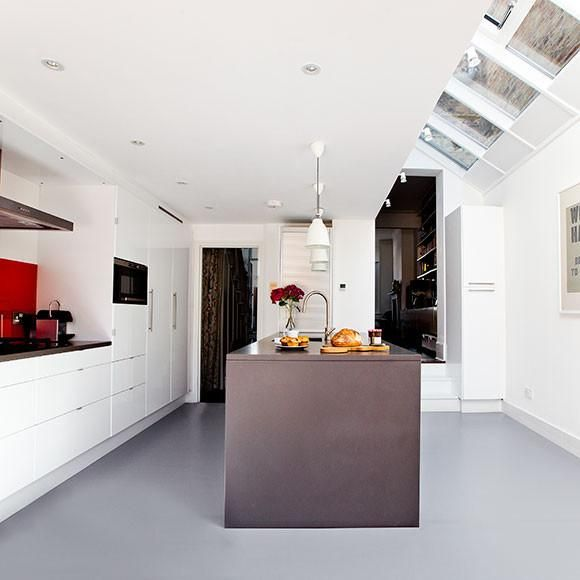 Modern pale grey rubber flooring