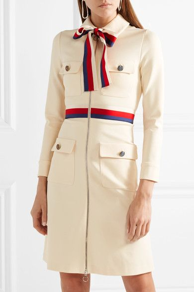 Ivory jersey, red, ivory and midnight-blue grosgrain Two-way zip fastening through front  75% viscose, 17% polyamide, 8% elastane Dry clean  Made in Italy