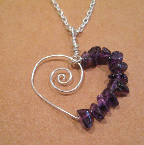 Amethyst Spiral Heart