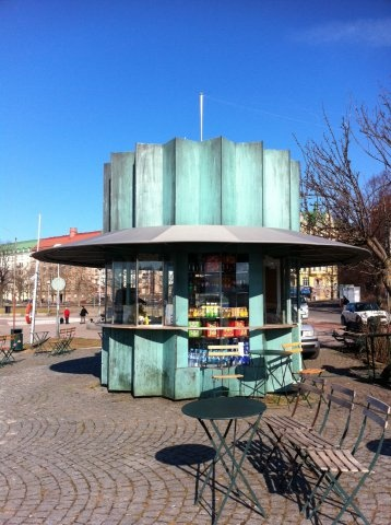 """Cafe Compass(people usually call it """"Mutteri""""(""""Nut""""), because of it looks) is a nice looking little cafe in Helsinki. It is open during summers, and has a view to the sea."""