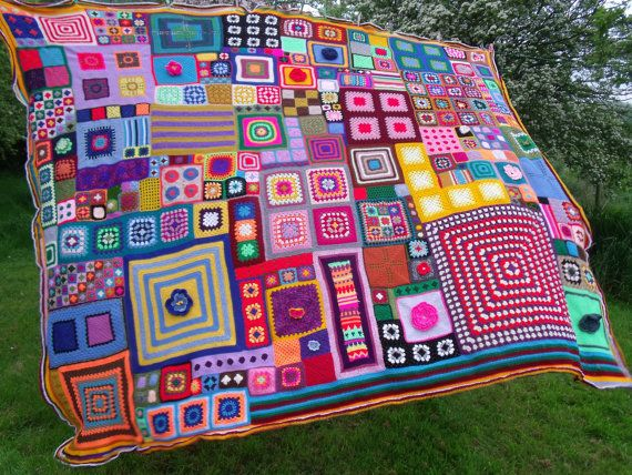 Large Patchwork Crochet Blanket queen sized by BettyButtonsDesign ...beautiful...gotta try to figure out this pattern (no pattern available).