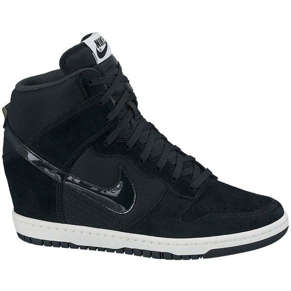 Nike Dunk Sky Hi Mesh Wedge Trainers , Black ($57) ❤ liked on Polyvore featuring shoes, sneakers, nike, black, hidden wedge sneakers, high top canvas sneakers, nike sneakers, black wedge shoes and black hi top sneakers