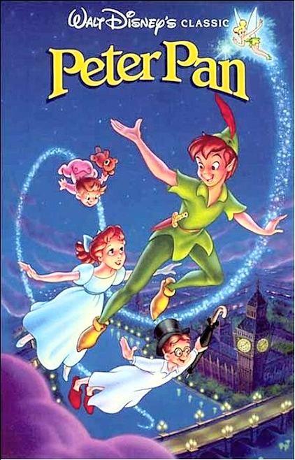 Peter Pan, 5 de febrer de 1953 Aquesta pelicula ens parla de molts valors diferents encarnats en dos personatges principals. Tenim a Peter Pan, tot un exemple de valentia, que mostra que amb el seu ingeni i intel·ligència es capaç de derrotar al Capita Garfio, molt mes fort que ell. Despres hi ha la dolça Wendy, que ensenya el valor de la bondat a traves de la forma en que es comporta amb els seus germans i amb els nens perduts.