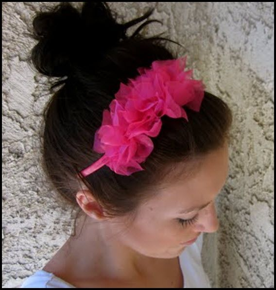 easy ruffle knotted headband ---great for activity days girls