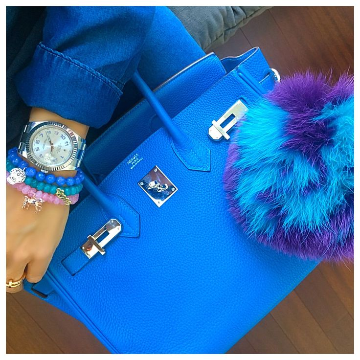Blue Hermes Birkin bag