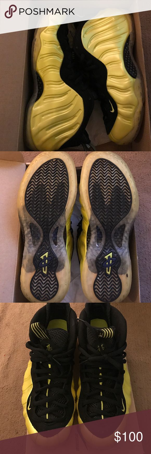 Electrolime yellow/black foamposite size 10 Very good condition with original box. Nike Shoes Sneakers