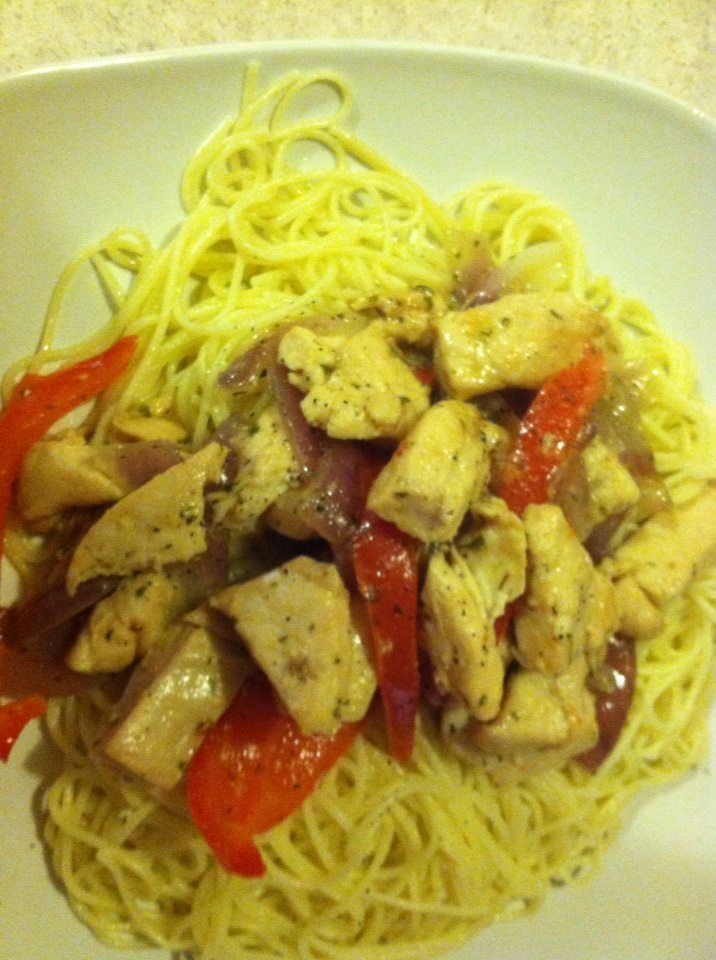 My version of Olive Garden Chicken Scampi made with Angel Hair Pasta