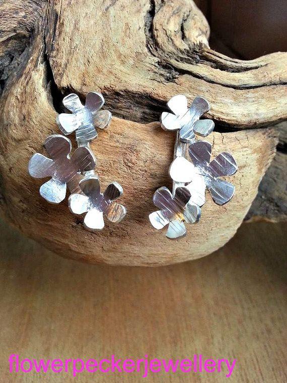 Forget Me Not Cluster Silver Earrings Stud Cluster by flowerpecker