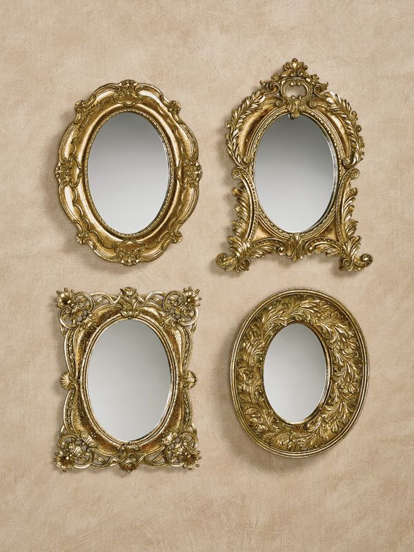 Adorabelle Antique Gold Accent Wall Mirror Set Wall Mirrors Set