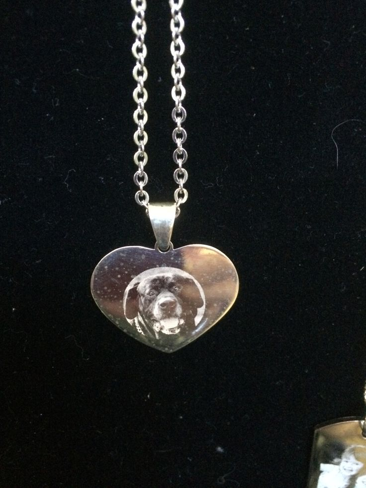 Sterling silver heart with your photo engraved onto the piece. $165 #photo_engraving #pets #keepsakes #cats #dogs  Www.memorykeepsakes.com.au