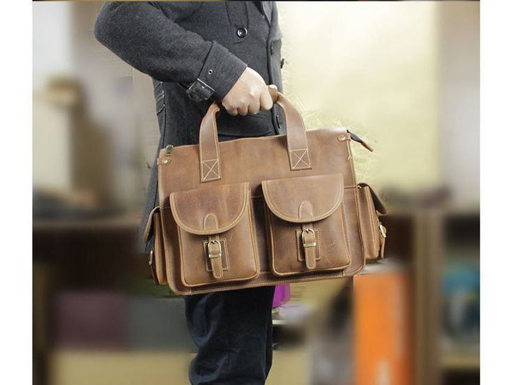 Selvaggio Multi Pocket Genuine Leather Satchel Bag Briefcase