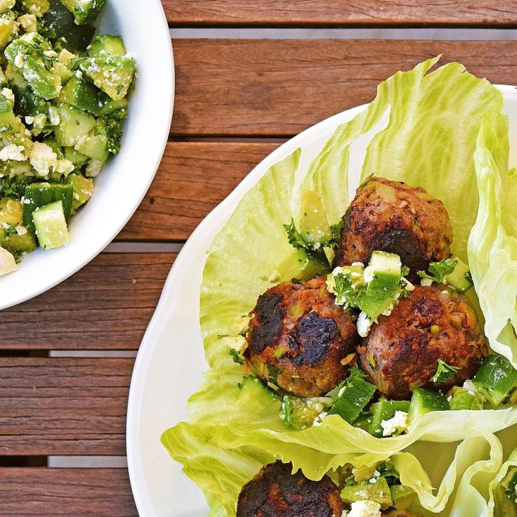 #iqs8wp Zucchini Meatball Cups with avocado and cucumber salad