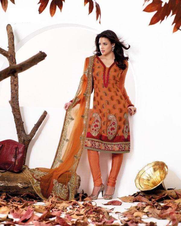 $129.10 Orange Stone Work Georgette Salwar Kameez 22375