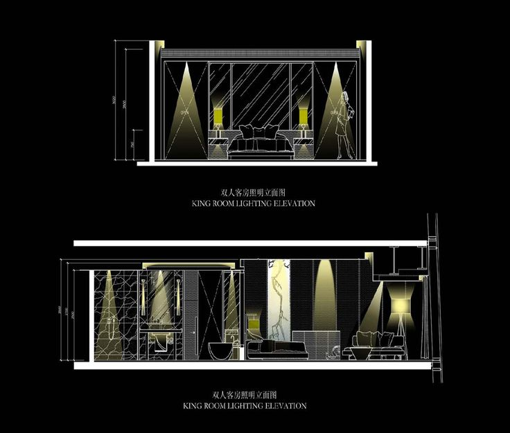 Sky Lobby lighting elevation for the Four Seasons Hotel Guangzhou, designed by HBA/Hirsch Bedner Associates.