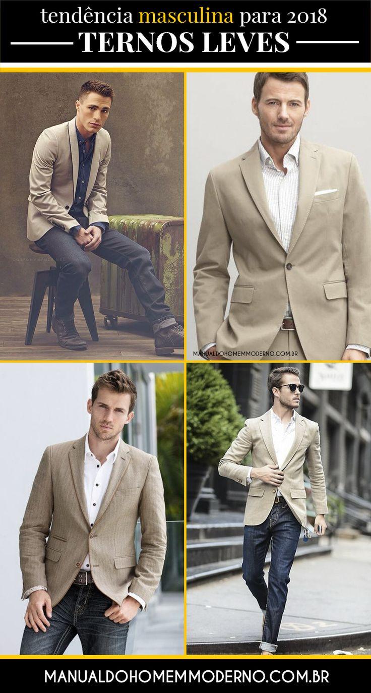 Ternos de tecidos leves prometem se destacar na moda masculina em 2018.