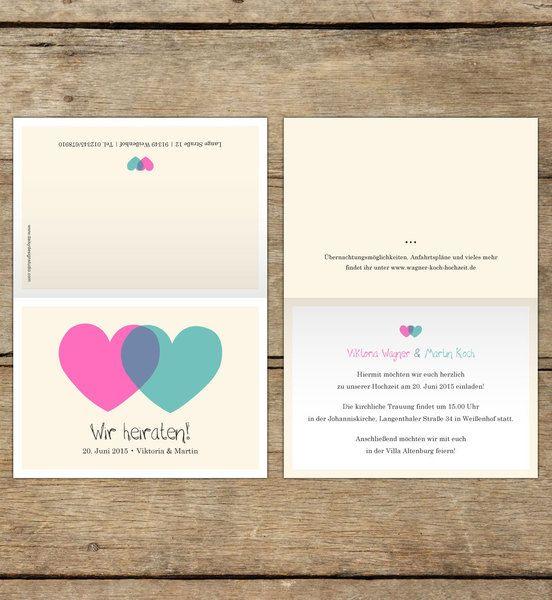 Einladungskarten - Hochzeitseinladung | Aus zwei wird eins - ein Designerstück von DaisyDesignStudio bei DaWanda