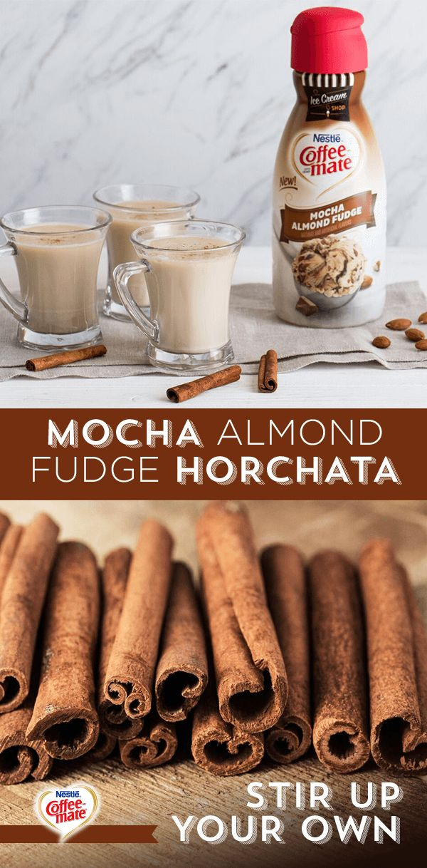 Try this contemporary spin on a classic Mexican and Spanish treat. Combine rice, cinnamon stick, and water in a large bowl and let cool overnight. Blend the mixture, add sugar, strain, and stir in coffee and Coffee-mate Mocha Almond Fudge creamer. To serve, pour into tall glasses with ice cubes. Sprinkle a little cocoa powder and cinnamon on top and enjoy. Find recipes to make your day sweeter at coffeemate.com.