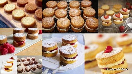 Tradição inglesa, o mini bolo de pão de ló com recheio de geléia a chantilly ou creme de confeiteiro é fofo, fácil de fazer e delicioso. A receita de pão de ló clássico é perfeita para este tipo de bolo - confira aqui. Use formas de mini bolo preparadas da mesma maneira.