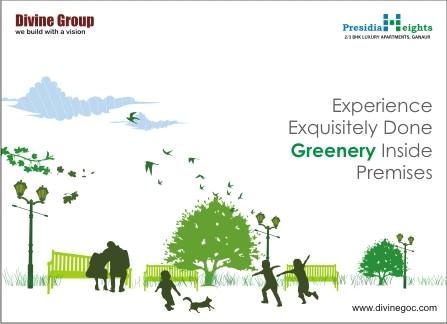Presidia heights of divine group would prove high on greenery because top of the line specialists have kept more than half of area reserved for plantation.