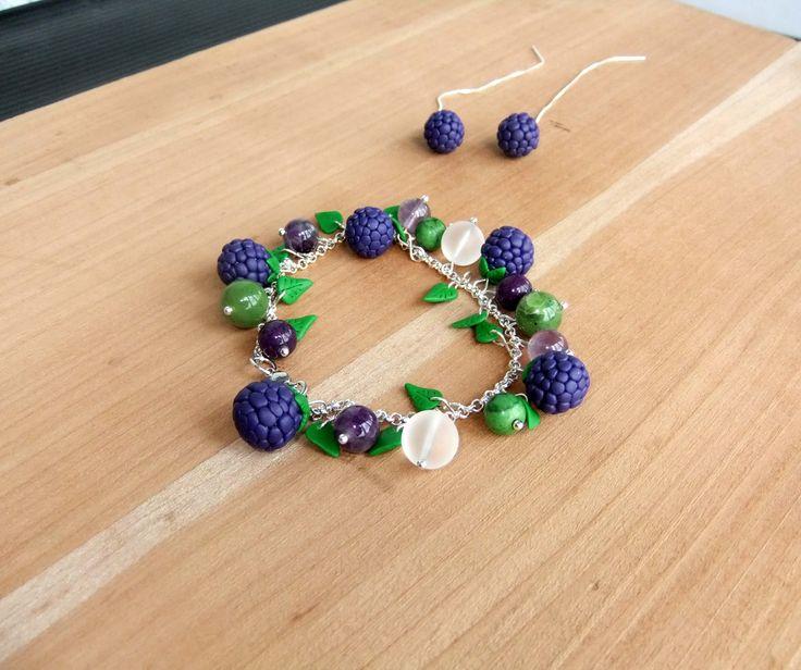 Blackberries - Polymer Clay Sterling Silver Earrings and bracelet.