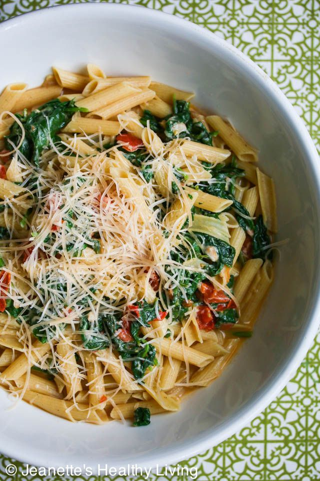 Easy Pasta with Spinach Tomatoes and Parmesan Cheese Recipe from jeanetteshealthyliving.com