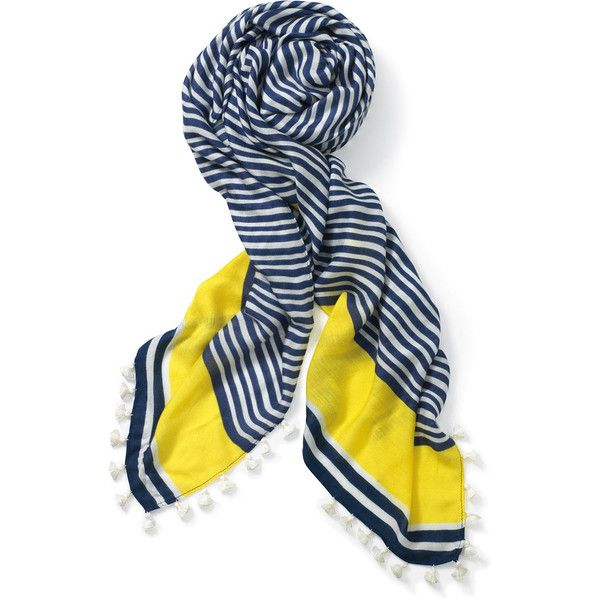 Stella & Dot Westwood Tassel Scarf - Navy White/Electric Yellow ($59) ❤ liked on Polyvore featuring accessories, scarves, metallic shawl, navy shawl, navy scarves, white shawl and metallic scarves