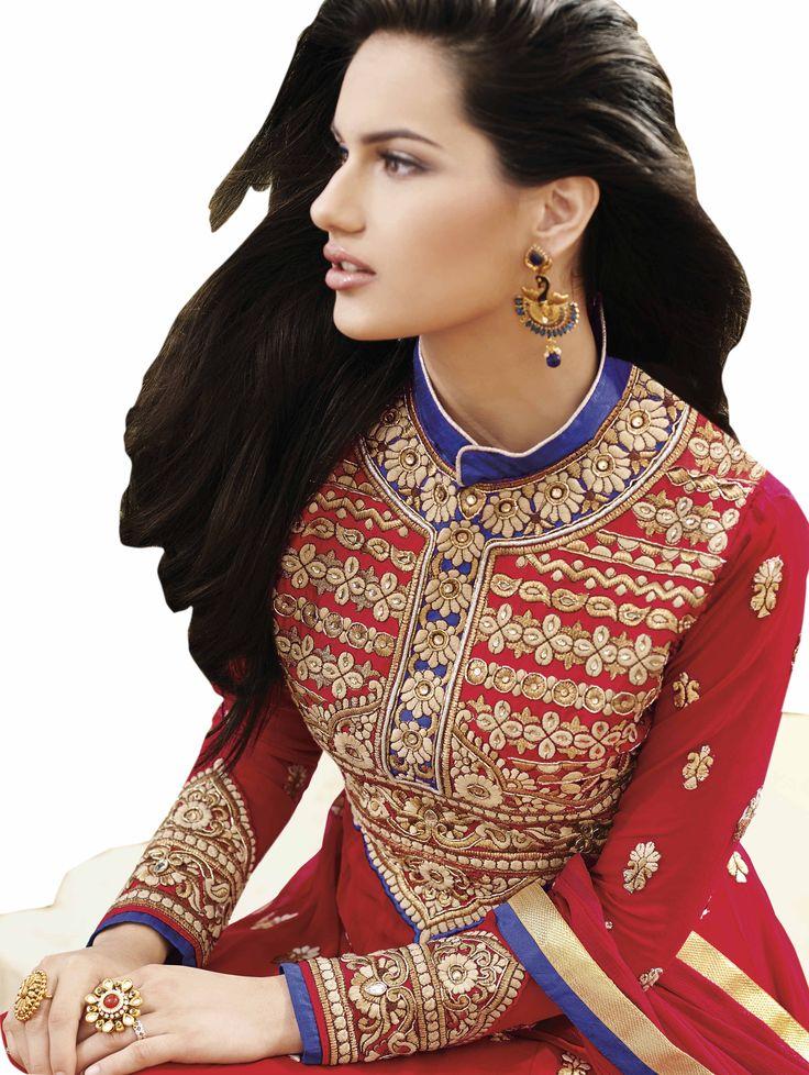 Side view of Red Embroidered Pure Georgette Semi Stitched Floor Length Anarkalis Salwar Suit #DesignerSlawarkameez, #MagentaSalwarKameez #WeddingSalwarKameez, #NetFabricSalwarkameez, #EmbroideredWorkSalwarKameez #EmbroidedSalwarKameez  #WeddingDress #PartyWearDress #AnarkaliSalwarkameez #AnarkaliDress #AnarKaliSuit #DesignerAnarkali #BridalSalwarKameez #SalwarKameezWithDupatta #RedSalwarKameez #RedSalwarSuits #redAnarkaliSuits