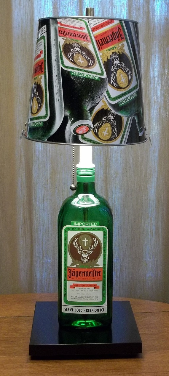 agermeister Bottle Table Lamp with Jager Bucket Lampshade: Table Lamps, Bucket Lampshade, Jager Lamp, Bottle Lamps, Jagermeister Ideas, Crafty Projects, Jagermeister Bottle