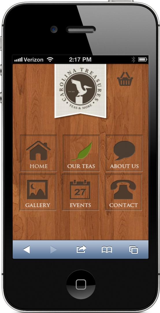 Mobile website created for Carolina Treasures Tea. www.carolinatreasurestea.com/