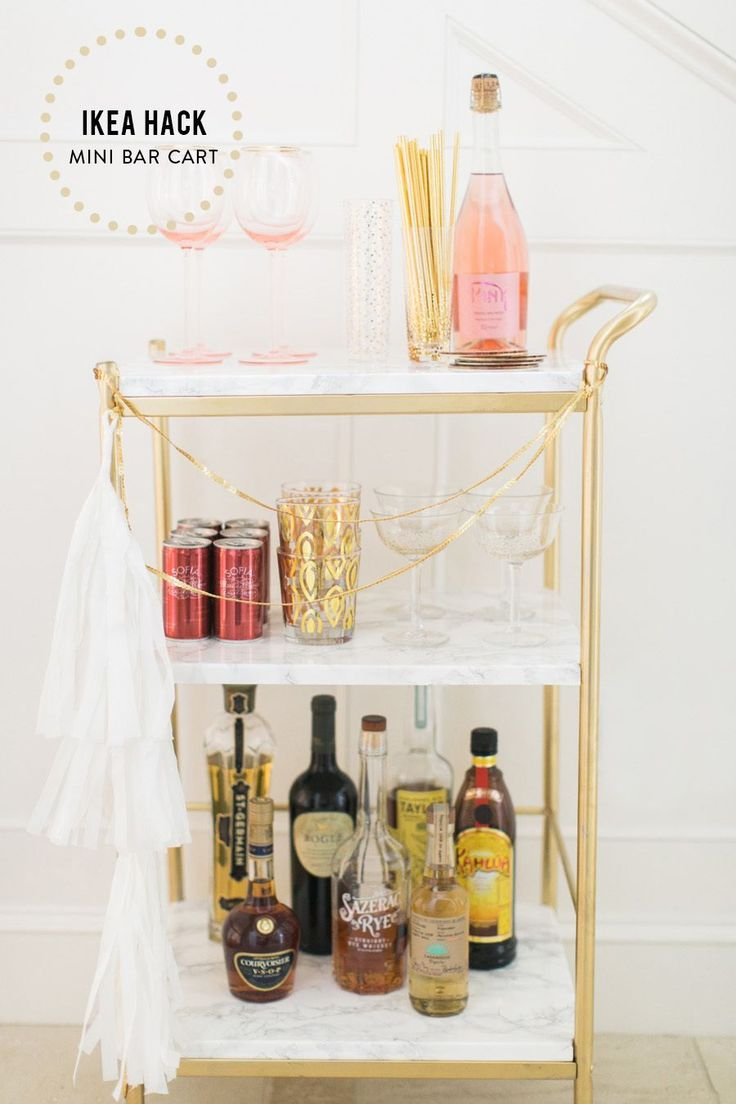 Photography : Ruth Eileen PhotographyRead More on SMP: http://www.stylemepretty.com/living/2015/12/29/ikea-hack-diy-mini-bar-cart/