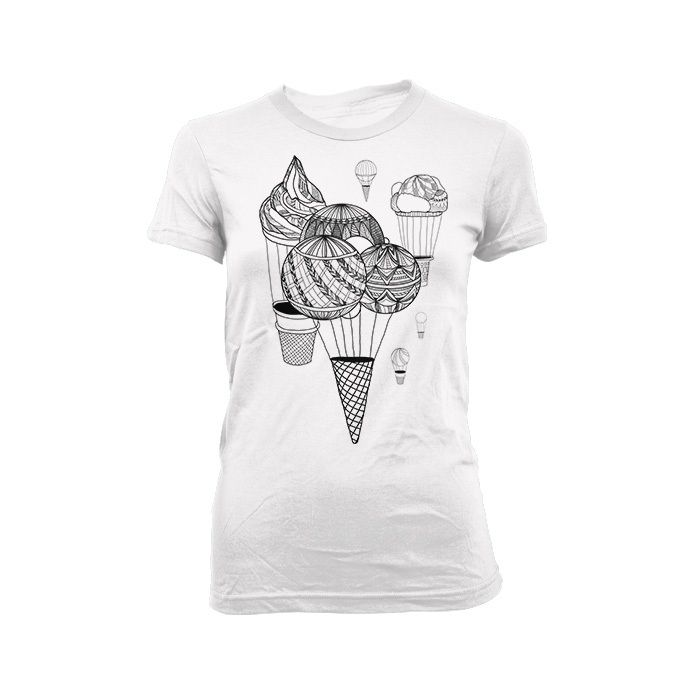 Ice creams Away! - Black print on a white shirt. $23.00 Click here: http://store.theinprint.com/product/ice-creams-away #icecream #balloon #illustration #drawing #tshirt