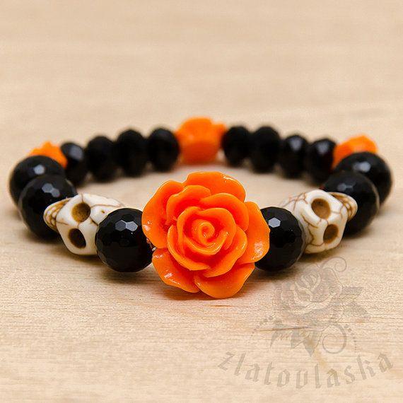 Rose&Skull Agate Gemstone Bracelet by ZlatovlaskaJewelry on Etsy