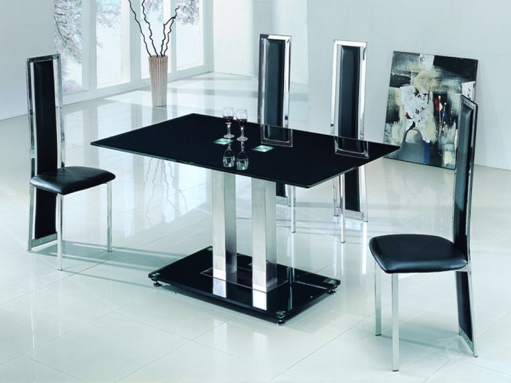 Stunning Savio Small Glass Chrome Dining Table And 4 Chairs Set  The Modern  Stylish Look This Chair Boasts Also Means It Will Make A Great Addition To  Any ...