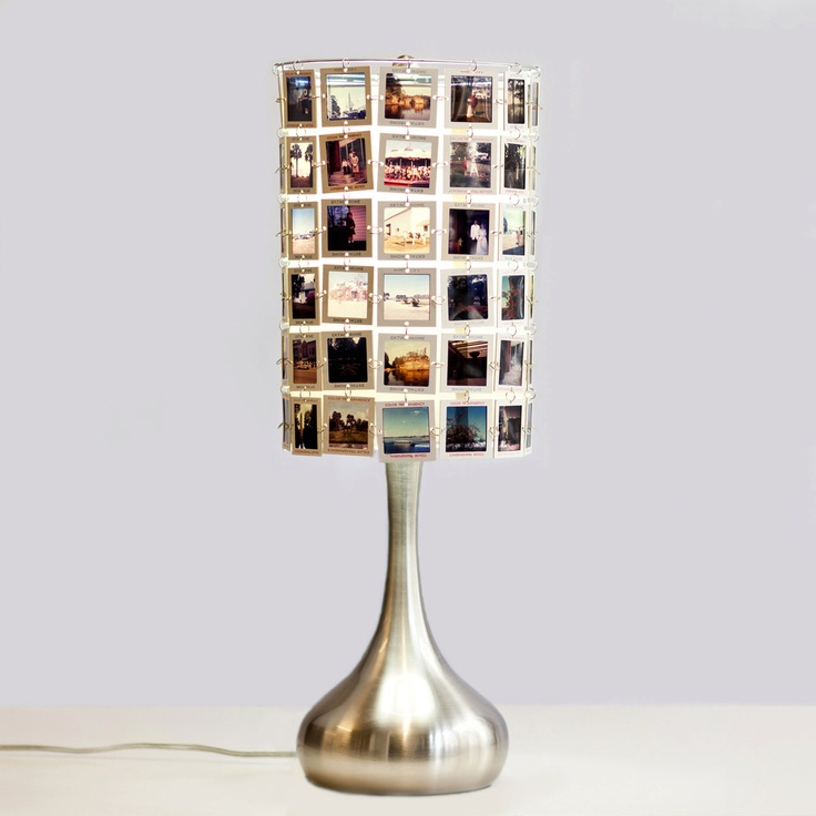 custom lampshade from vintage slides with stainless base lamp shadestable lampsdiy - Lamp Shades For Table Lamps