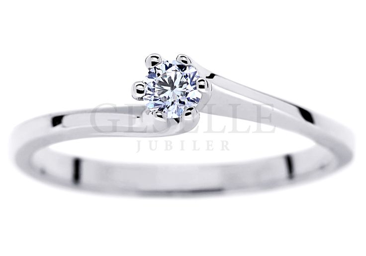 Klasyczny pierścionek zaręczynowy z brylantem o masie 0,13 ct oprawionym w sześć łapek - GRAWER W PREZENCIE