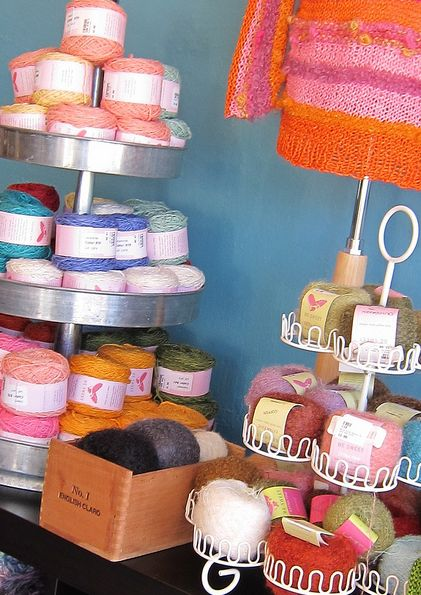 neat yarn display idea from a tiered cake display