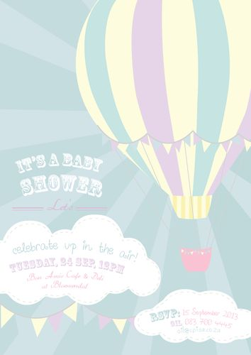 Hot Air balloon Shower Invite  http://awishawaywhimsical.blogspot.com/p/online-store_8.html#!/~/category/id=8530200&offset=0&sort=normal